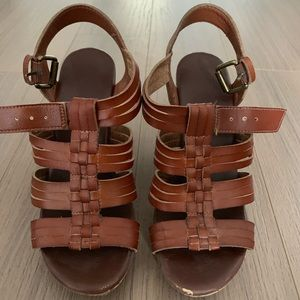 Mossimo brown wedge sandals - size 6